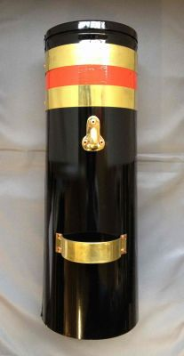 """ENGLISH 18"""" Double skin chimney with two brass bands and red stripe"""