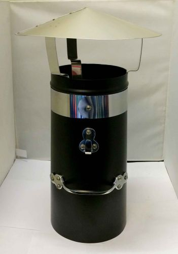 """12"""" Double skin chimney with chrome band and stainless coolie hat"""