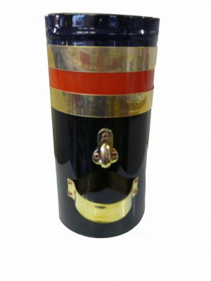 """ENGLISH 12"""" Double skin chimney with two brass bands and red stripe"""