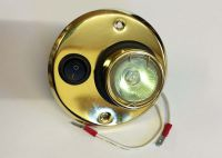 12v Switched halogen circle light - brass